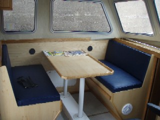 sheltered seating in heated cabin